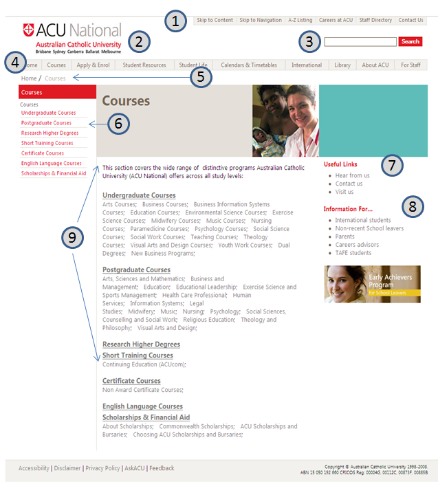 screen-shot: www.acu.edu.au 2009 design sub site Landing page